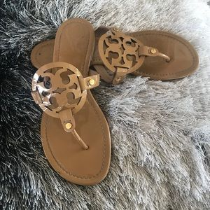 Tory Burch Miller Logo Nude Patent Sandals 10